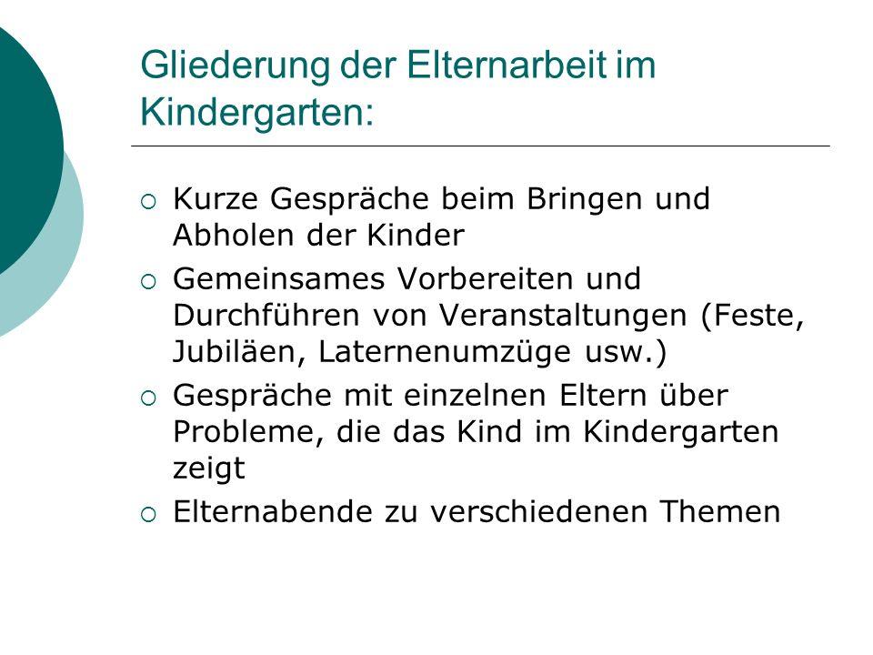 Gliederung der Elternarbeit im Kindergarten: