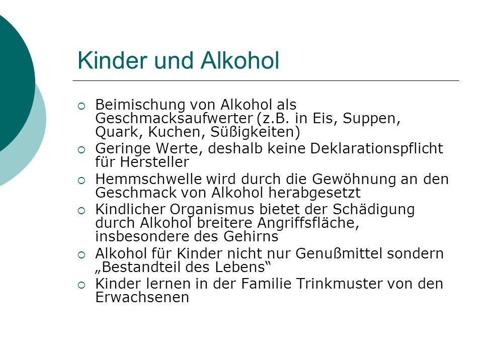 Kinder und Alkohol Beimischung von Alkohol als Geschmacksaufwerter (z.B. in Eis, Suppen, Quark, Kuchen, Süßigkeiten)