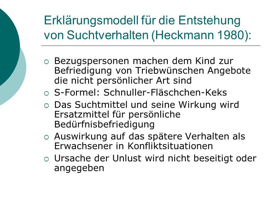 Erklärungsmodell für die Entstehung von Suchtverhalten (Heckmann 1980):