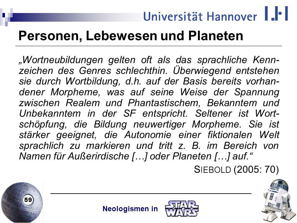 Personen, Lebewesen und Planeten