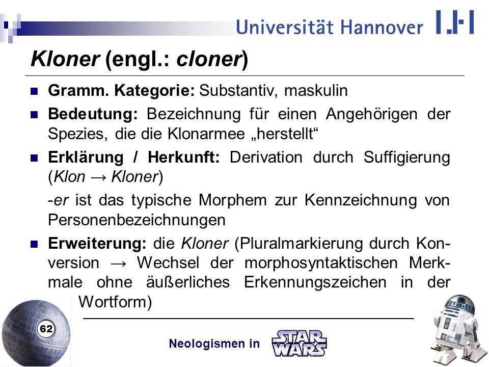 Kloner (engl.: cloner) Gramm. Kategorie: Substantiv, maskulin