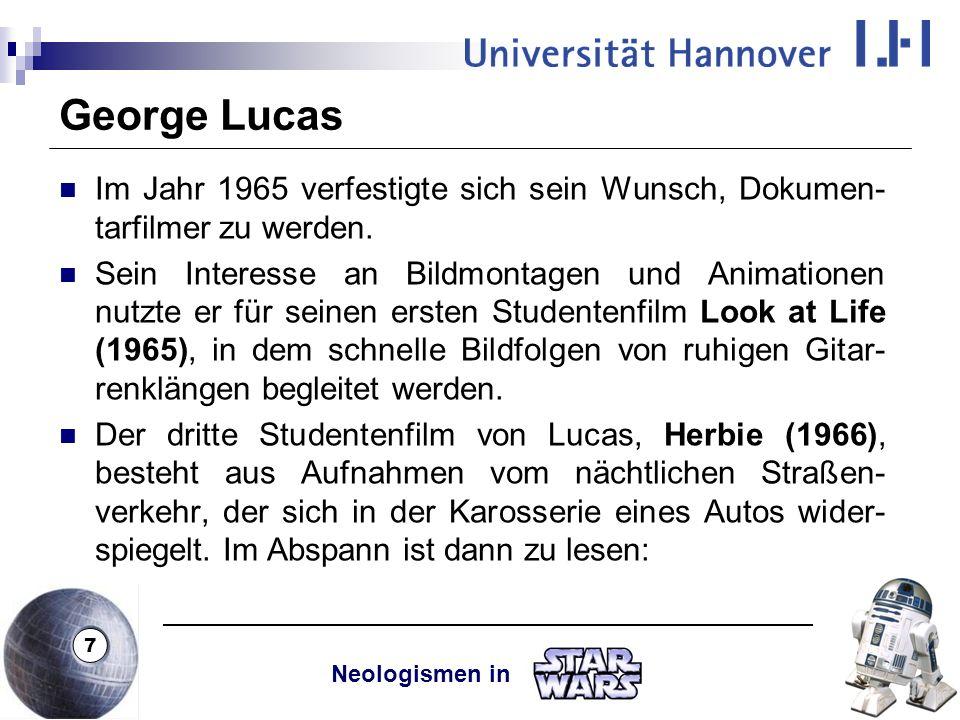 George Lucas Im Jahr 1965 verfestigte sich sein Wunsch, Dokumen-tarfilmer zu werden.