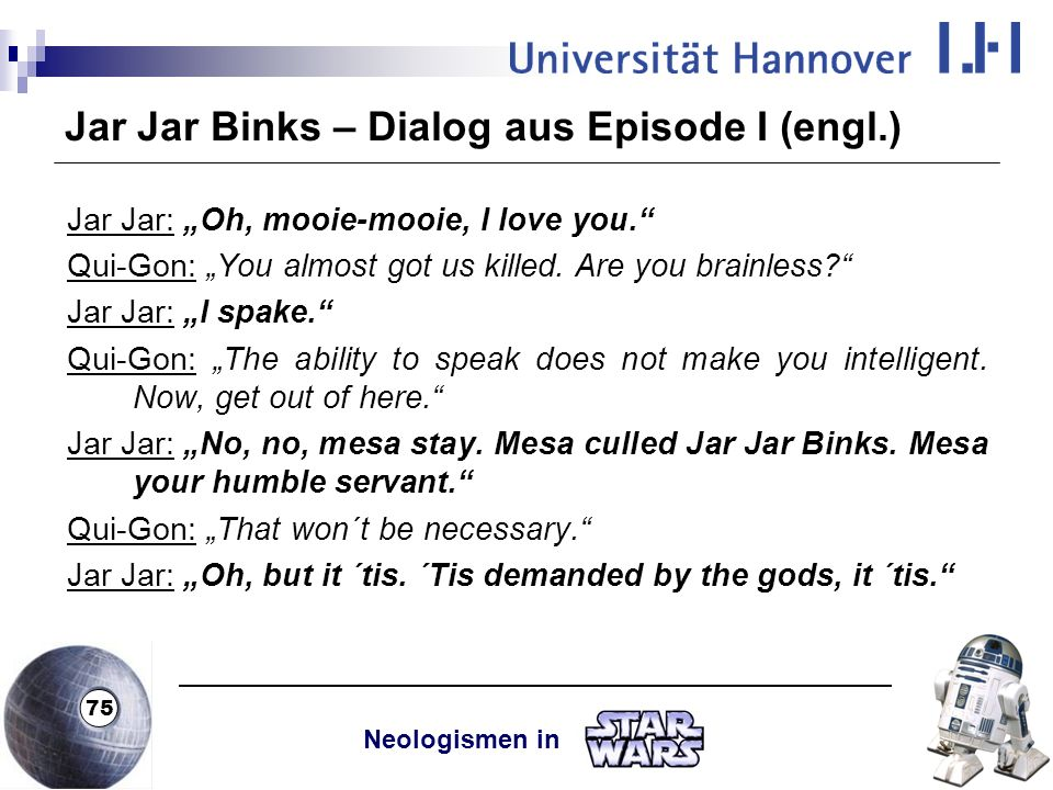Jar Jar Binks – Dialog aus Episode I (engl.)