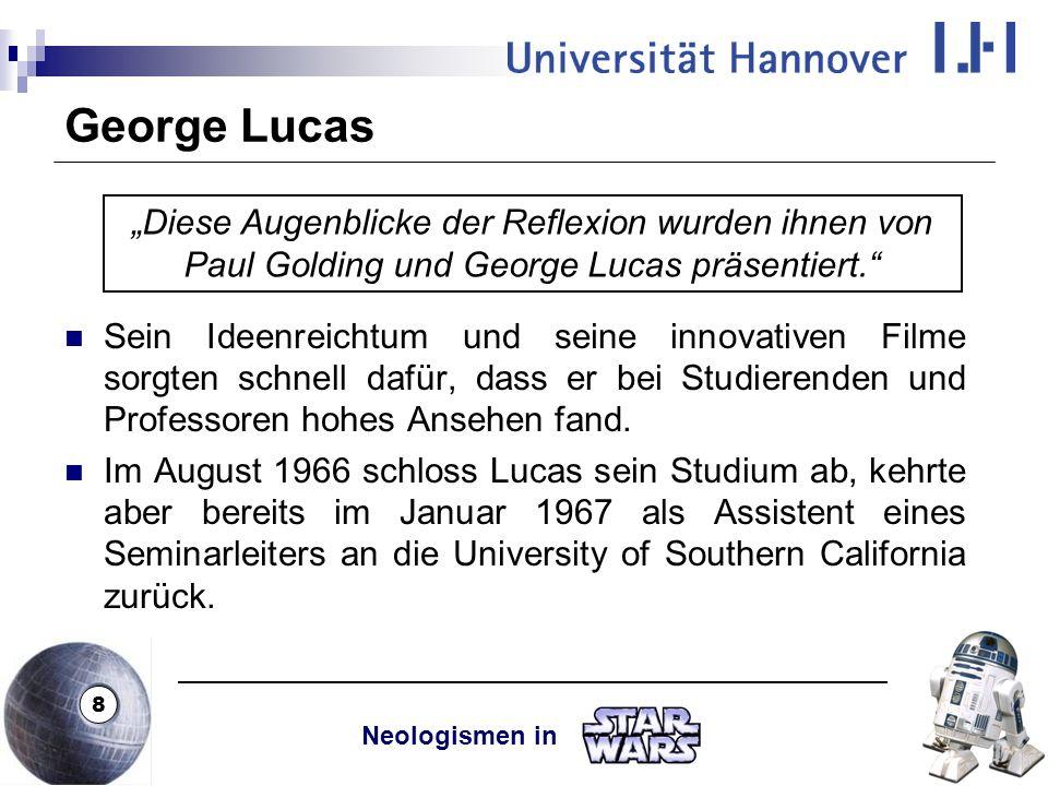 """George Lucas """"Diese Augenblicke der Reflexion wurden ihnen von Paul Golding und George Lucas präsentiert."""