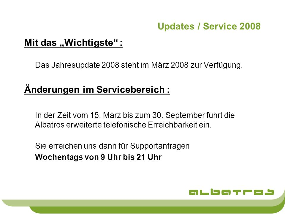 Änderungen im Servicebereich :