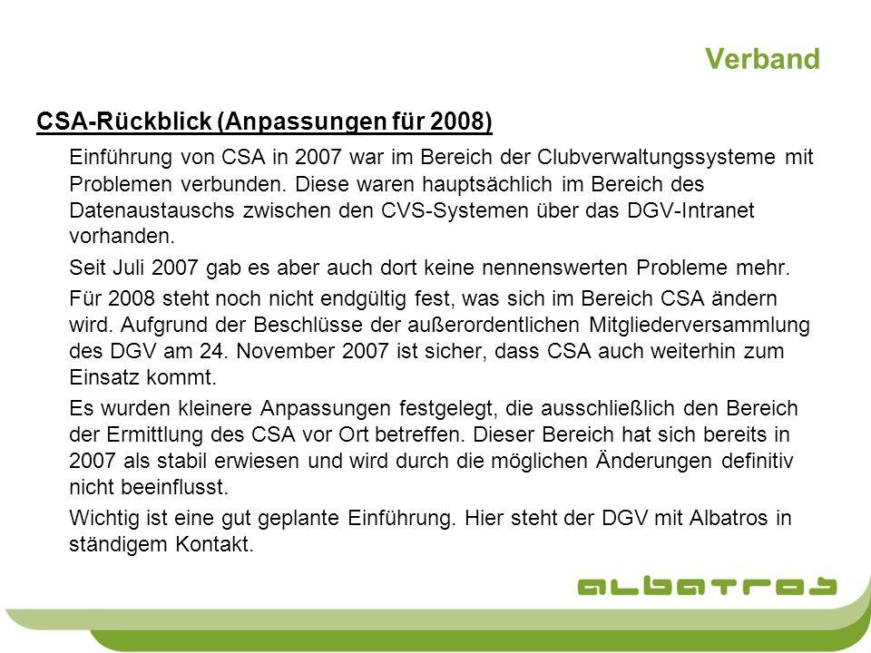 Verband CSA-Rückblick (Anpassungen für 2008)