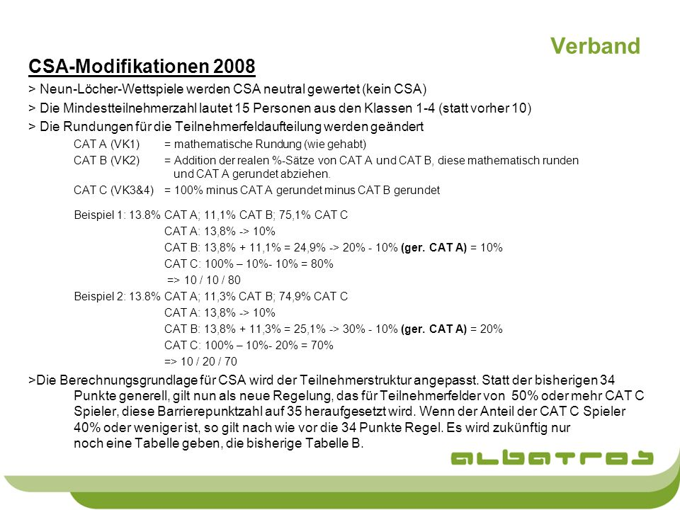 Verband CSA-Modifikationen 2008