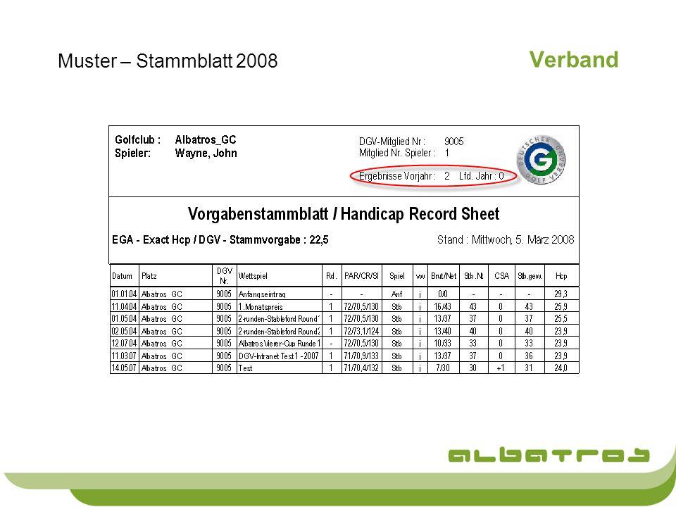 Muster – Stammblatt 2008 Verband
