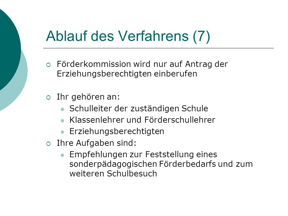 Ablauf des Verfahrens (7)