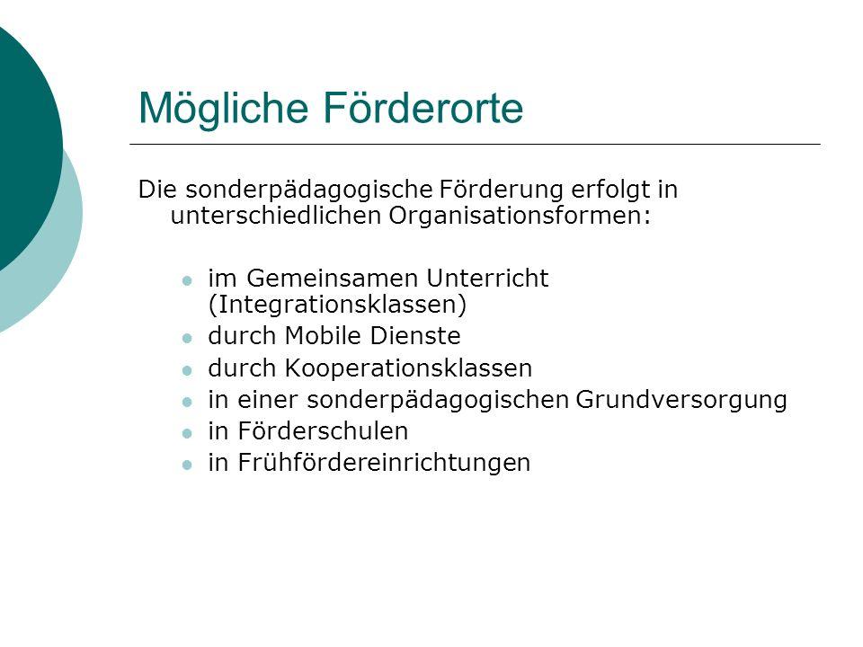 Mögliche Förderorte Die sonderpädagogische Förderung erfolgt in unterschiedlichen Organisationsformen: