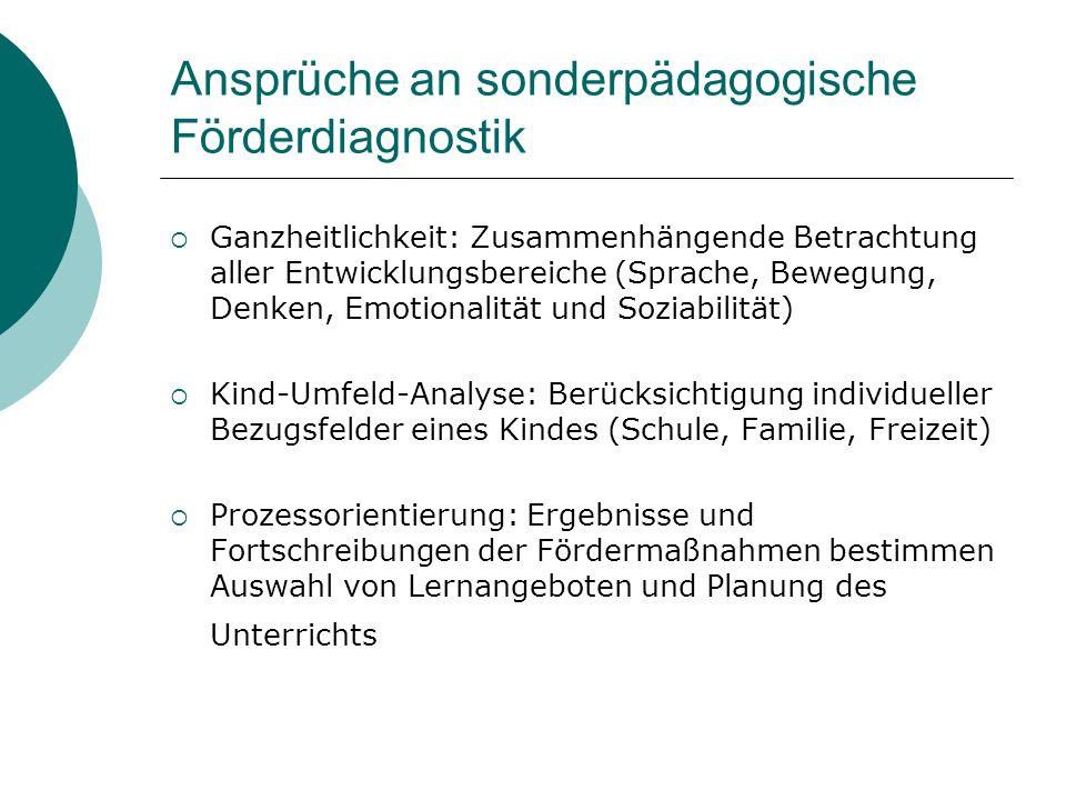 Ansprüche an sonderpädagogische Förderdiagnostik