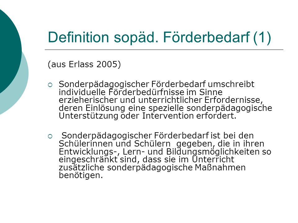Definition sopäd. Förderbedarf (1)