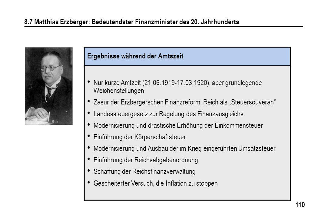 8. 7 Matthias Erzberger: Bedeutendster Finanzminister des 20