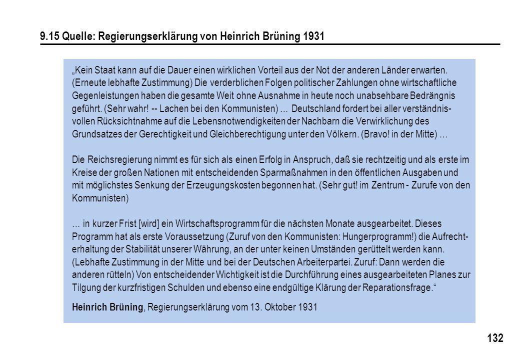 9.15 Quelle: Regierungserklärung von Heinrich Brüning 1931