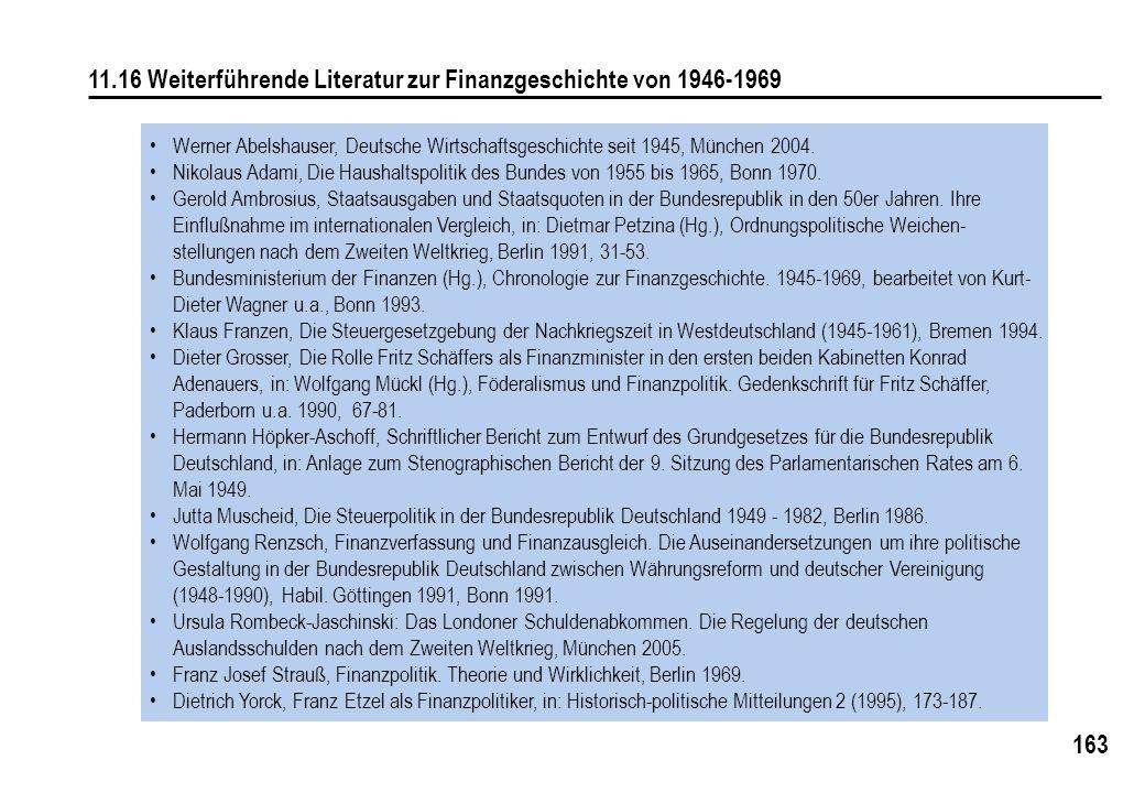 11.16 Weiterführende Literatur zur Finanzgeschichte von 1946-1969