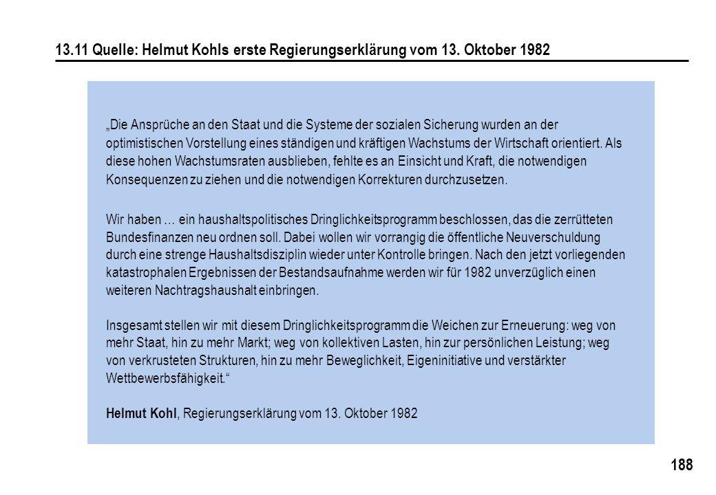 13. 11 Quelle: Helmut Kohls erste Regierungserklärung vom 13