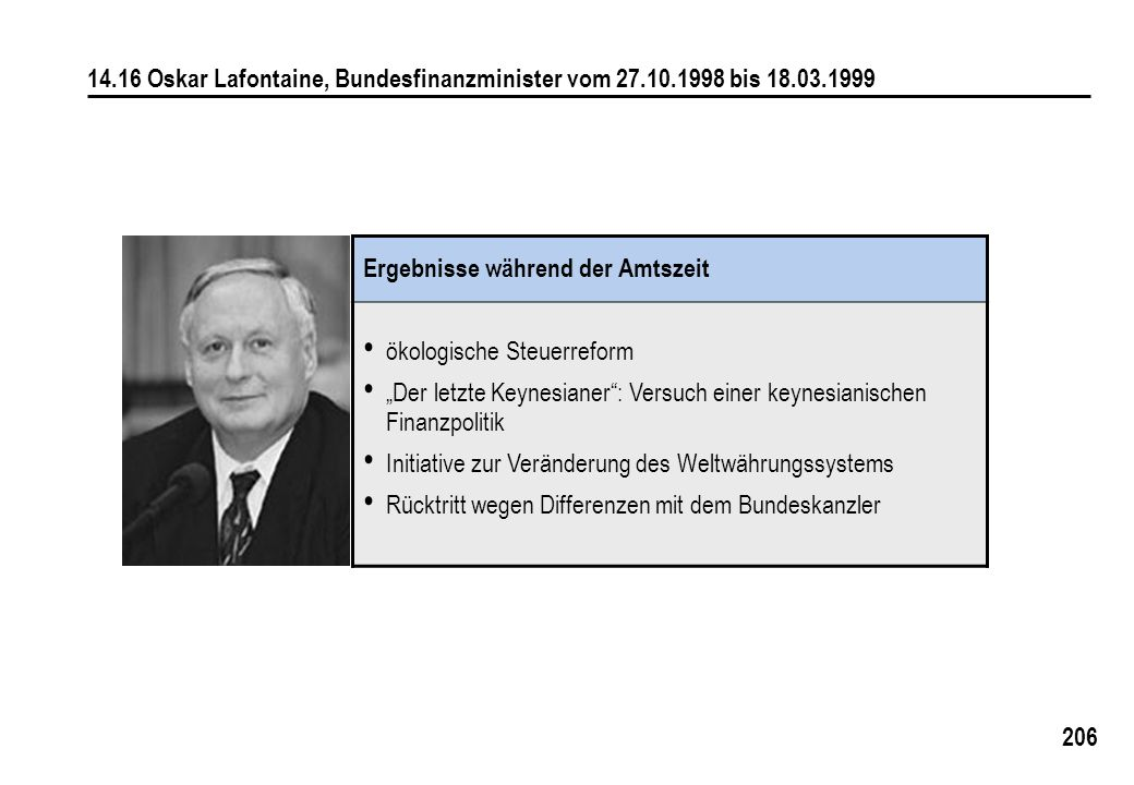 14. 16 Oskar Lafontaine, Bundesfinanzminister vom 27. 10. 1998 bis 18