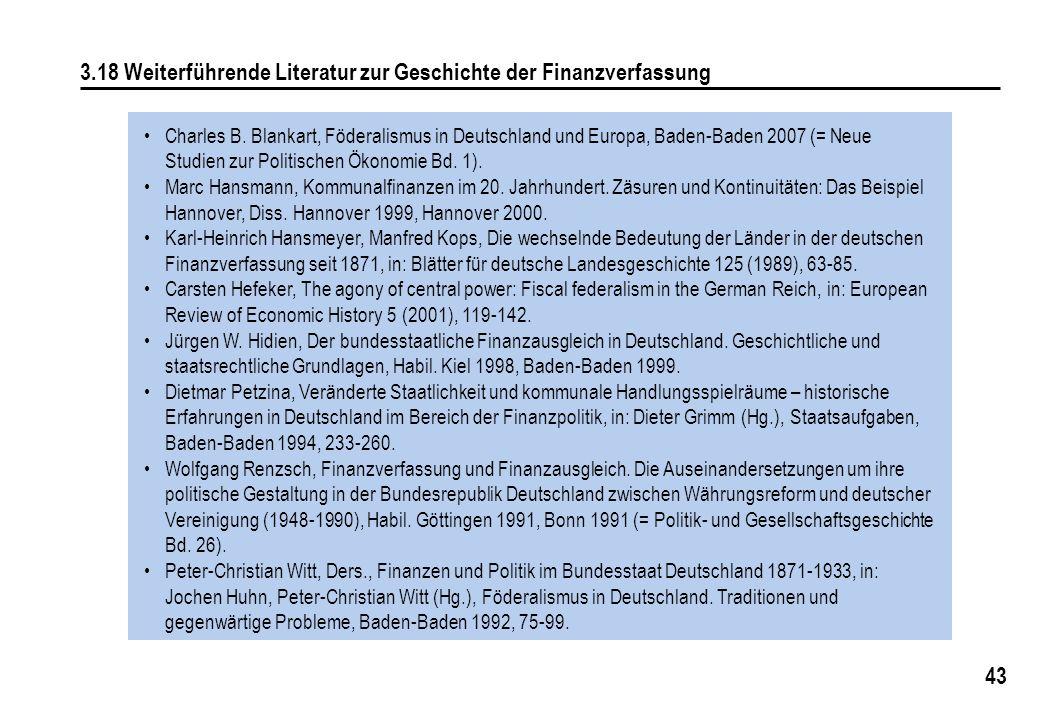 3.18 Weiterführende Literatur zur Geschichte der Finanzverfassung