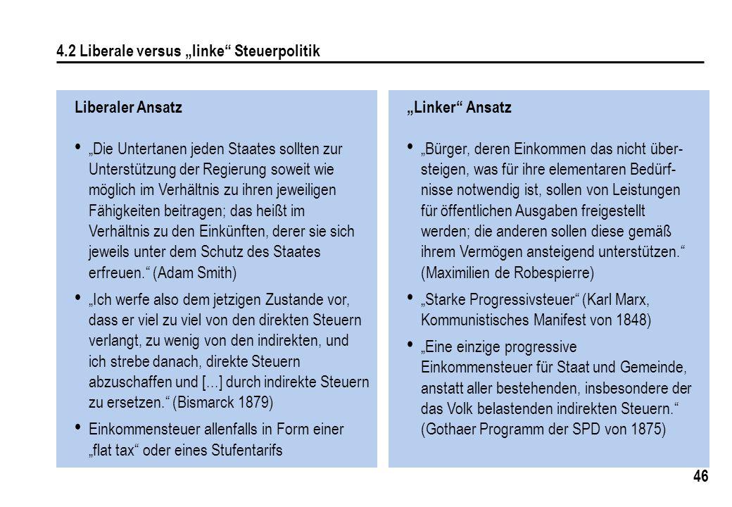 "4.2 Liberale versus ""linke Steuerpolitik"
