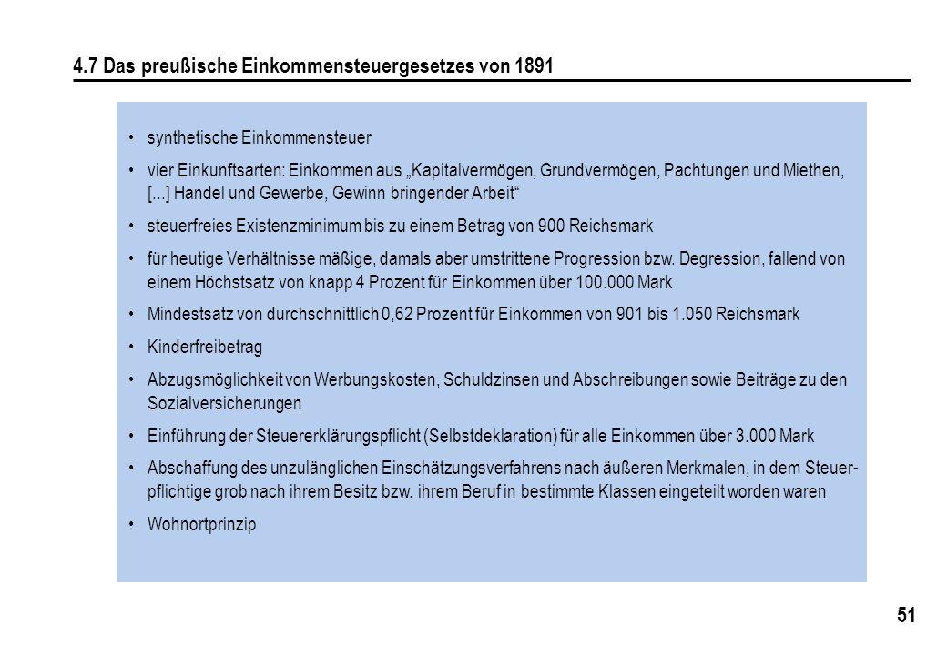4.7 Das preußische Einkommensteuergesetzes von 1891