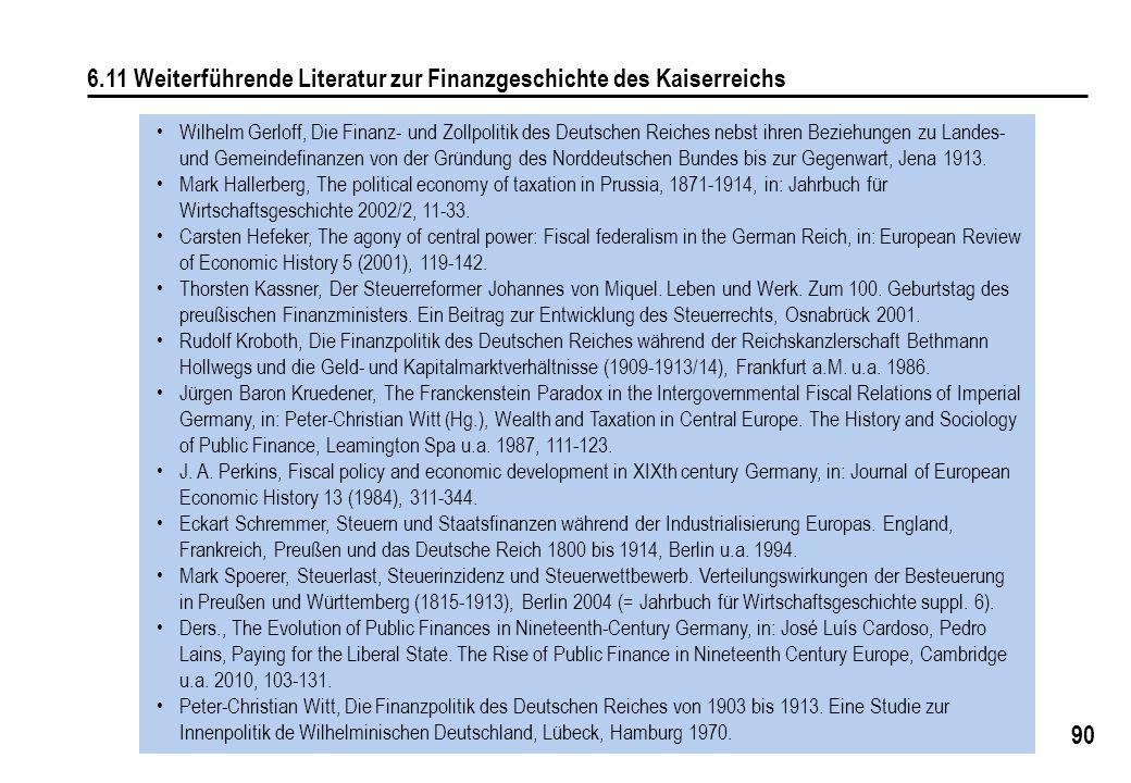 6.11 Weiterführende Literatur zur Finanzgeschichte des Kaiserreichs
