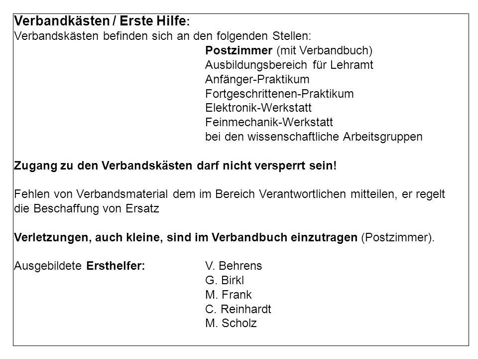 Verbandkästen / Erste Hilfe: