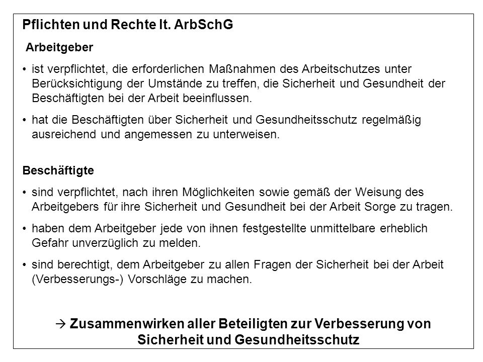 Pflichten und Rechte lt. ArbSchG