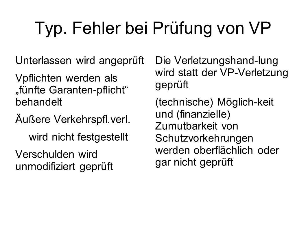 Typ. Fehler bei Prüfung von VP