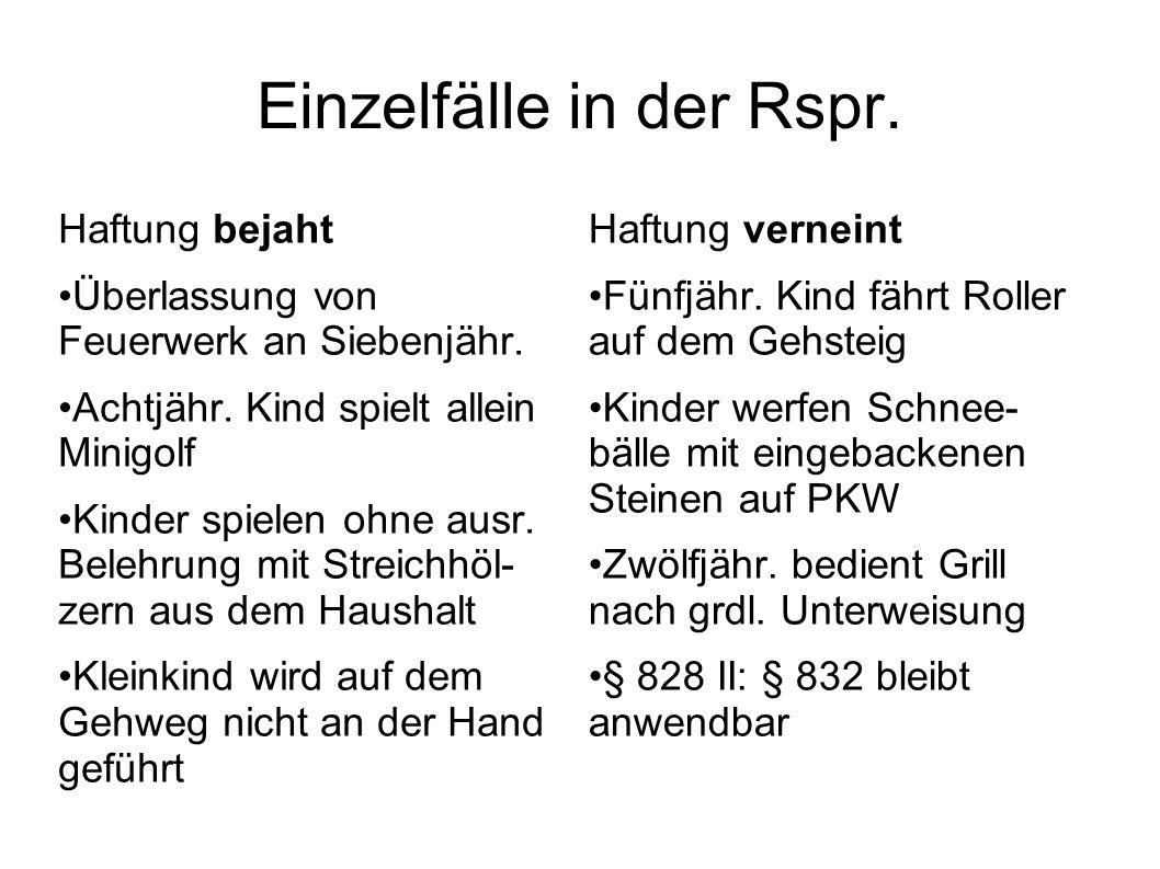 Einzelfälle in der Rspr.