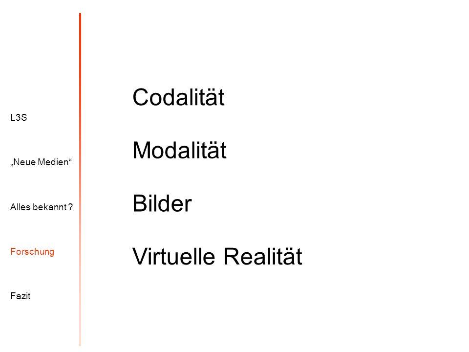 """Codalität Modalität Bilder Virtuelle Realität L3S """"Neue Medien"""
