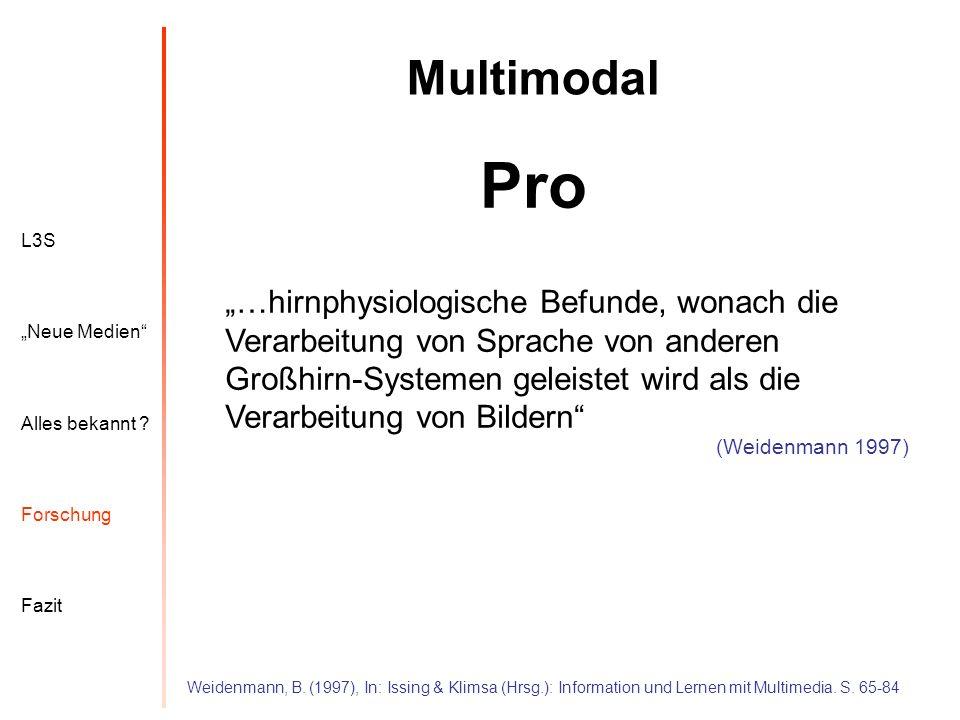"Multimodal Pro. L3S. Alles bekannt ""Neue Medien Forschung. Fazit."