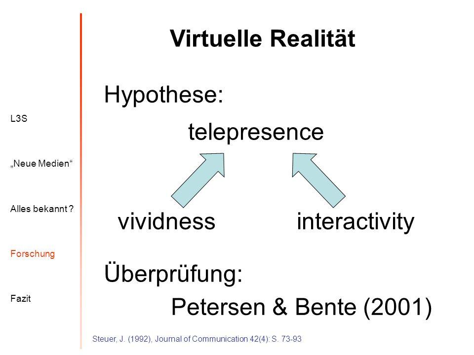 Virtuelle Realität Hypothese: telepresence vividness interactivity