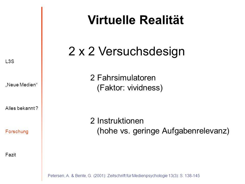 Virtuelle Realität 2 x 2 Versuchsdesign
