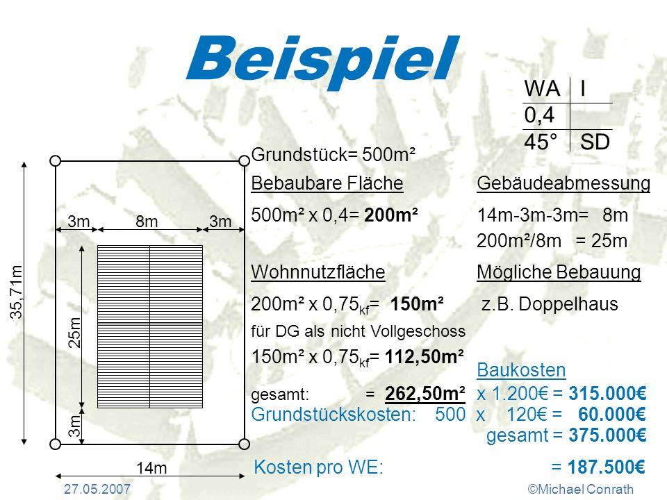 Beispiel WA 0,4 45° I SD Grundstück= 500m² Bebaubare Fläche