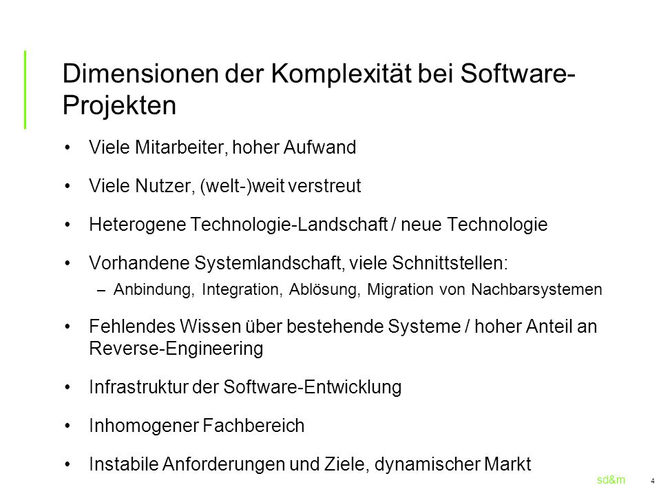 Dimensionen der Komplexität bei Software-Projekten
