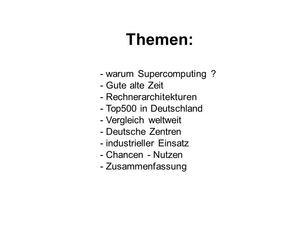 Themen: - warum Supercomputing - Gute alte Zeit