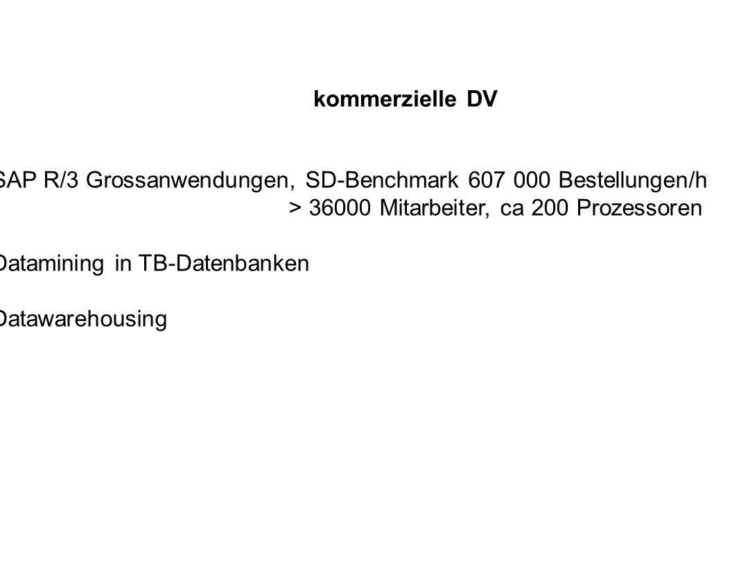 kommerzielle DV SAP R/3 Grossanwendungen, SD-Benchmark 607 000 Bestellungen/h. > 36000 Mitarbeiter, ca 200 Prozessoren.