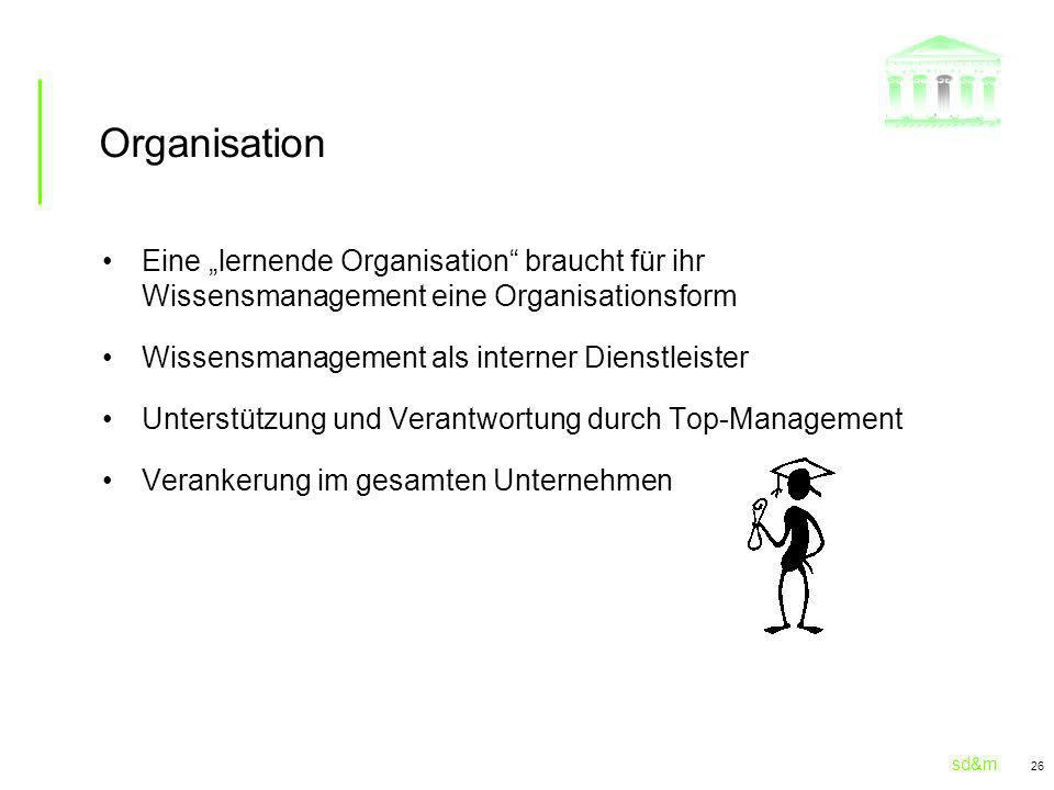 """Organisation Eine """"lernende Organisation braucht für ihr Wissensmanagement eine Organisationsform."""