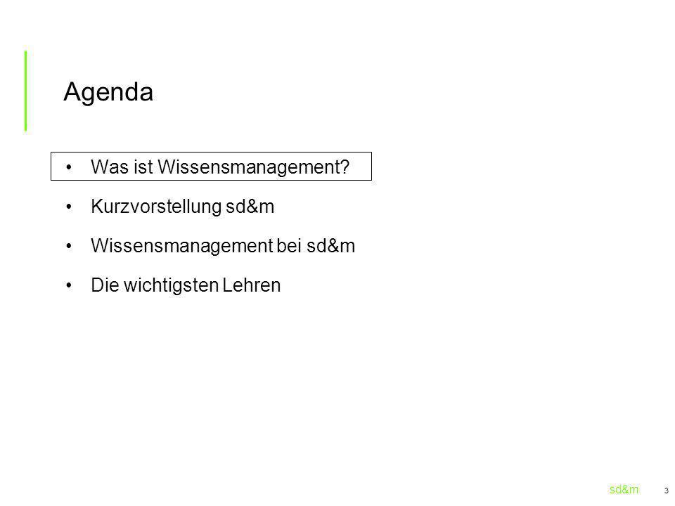 Agenda Was ist Wissensmanagement Kurzvorstellung sd&m