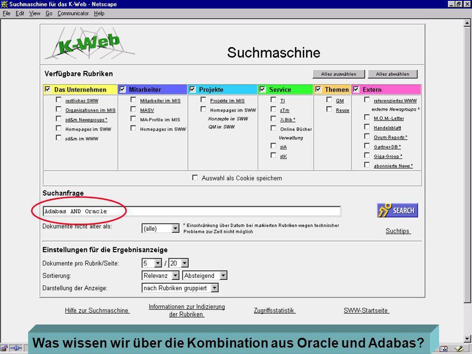 Eine Suchmaschine Was wissen wir über die Kombination aus Oracle und Adabas