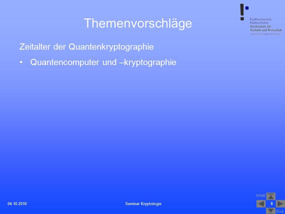 Themenvorschläge Zeitalter der Quantenkryptographie