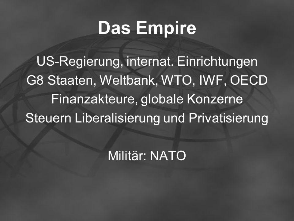 Das Empire US-Regierung, internat. Einrichtungen