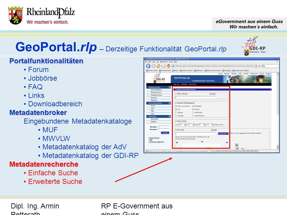 GeoPortal.rlp – Derzeitige Funktionalität GeoPortal.rlp