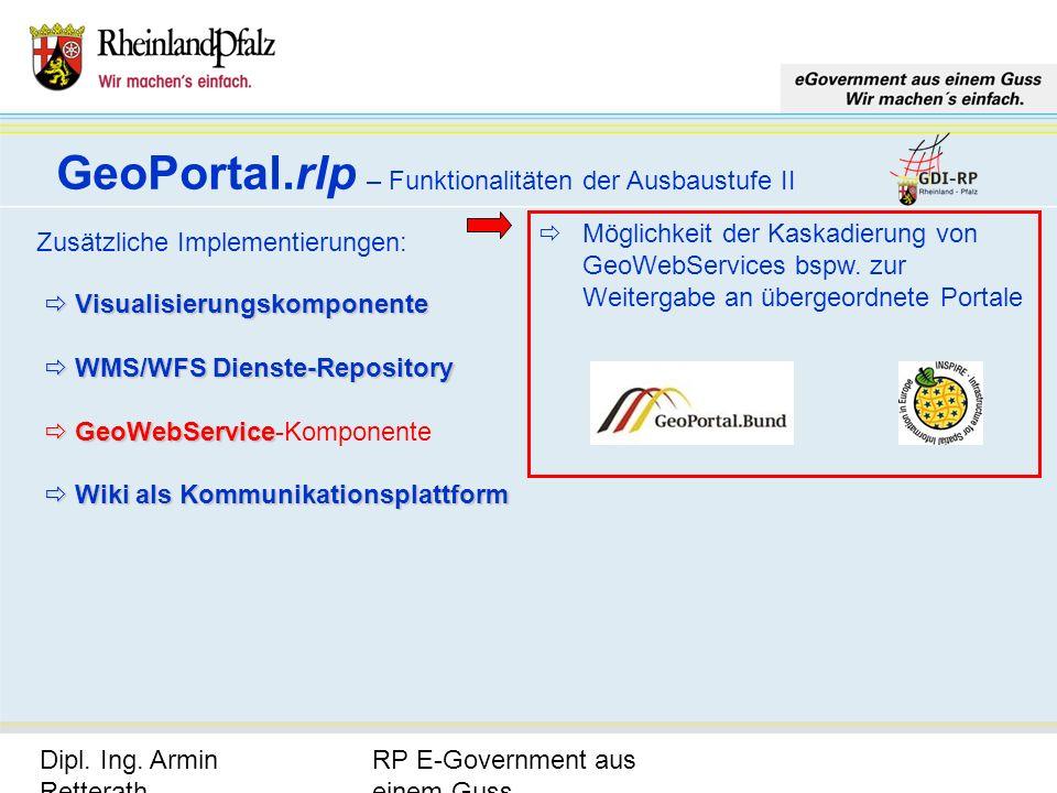 GeoPortal.rlp – Funktionalitäten der Ausbaustufe II