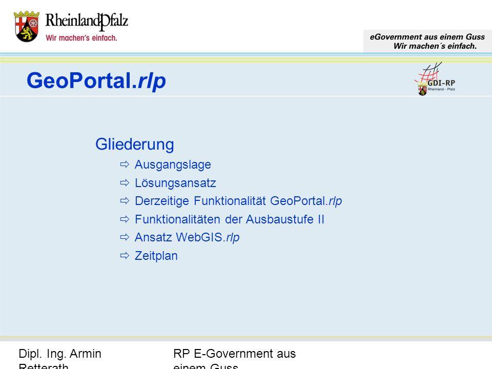 GeoPortal.rlp Gliederung Ausgangslage Lösungsansatz