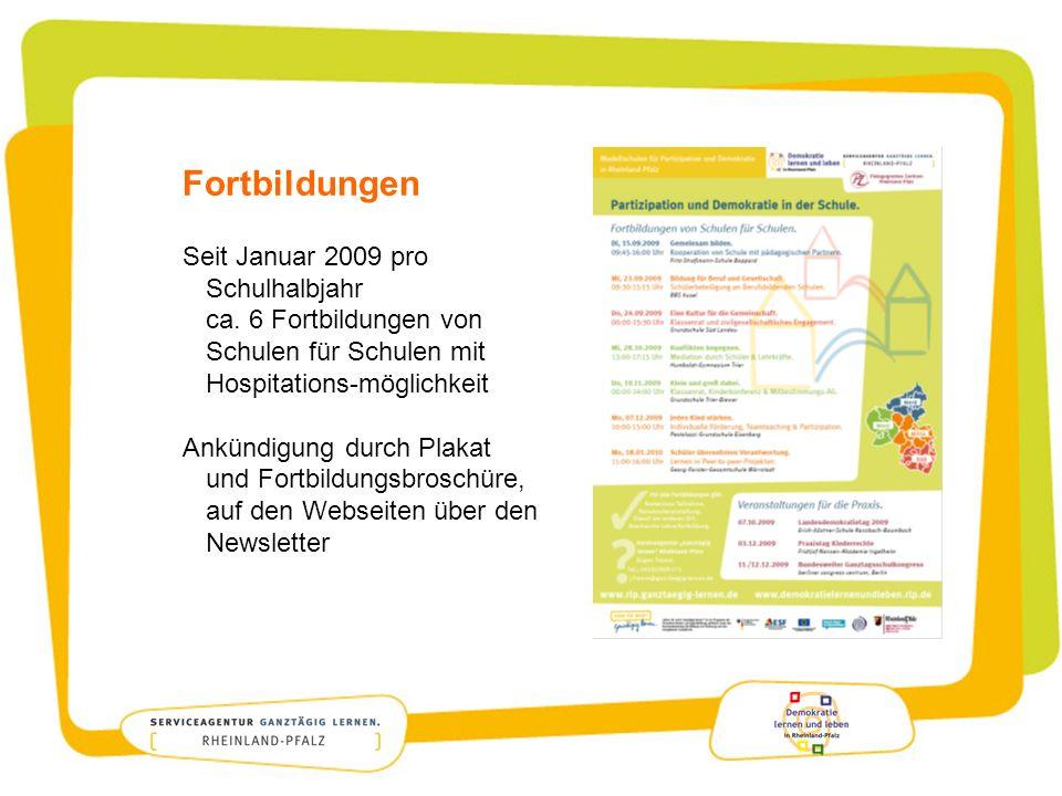 Fortbildungen Seit Januar 2009 pro Schulhalbjahr ca. 6 Fortbildungen von Schulen für Schulen mit Hospitations-möglichkeit.