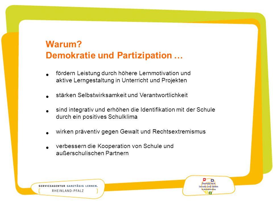 Warum Demokratie und Partizipation … fördern Leistung durch höhere Lernmotivation und aktive Lerngestaltung in Unterricht und Projekten.