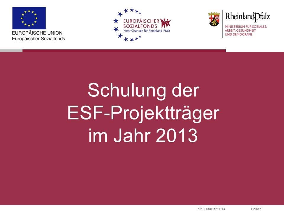 Schulung der ESF-Projektträger im Jahr 2013