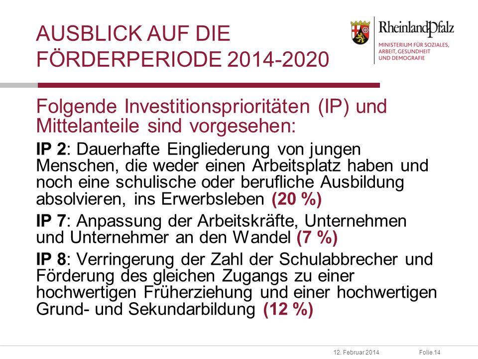 AUSBLICK AUF DIE FÖRDERPERIODE 2014-2020