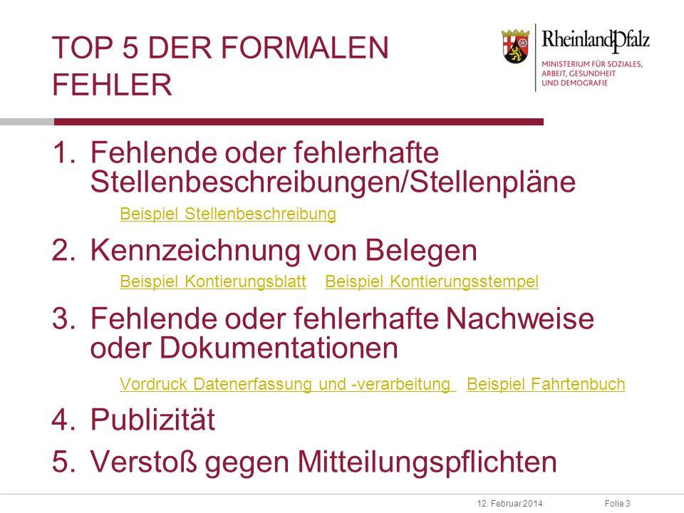 TOP 5 DER FORMALEN FEHLER